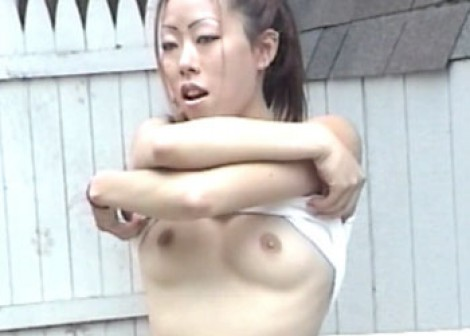 Ayako plays in the backyard